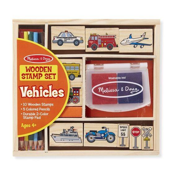 Stempelsæt fra Melissa & Doug - Wooden Stamp Set - Vehicles