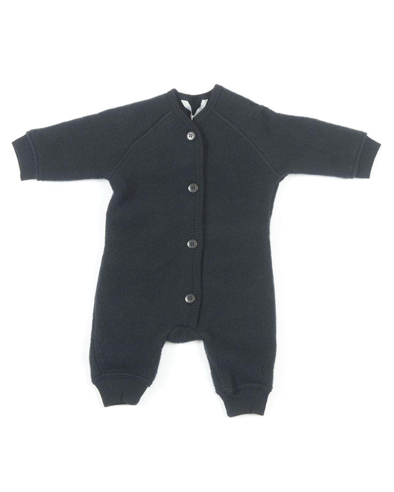 Billede af jumpsuit fra Smallstuff i merino uld med knapper - Black