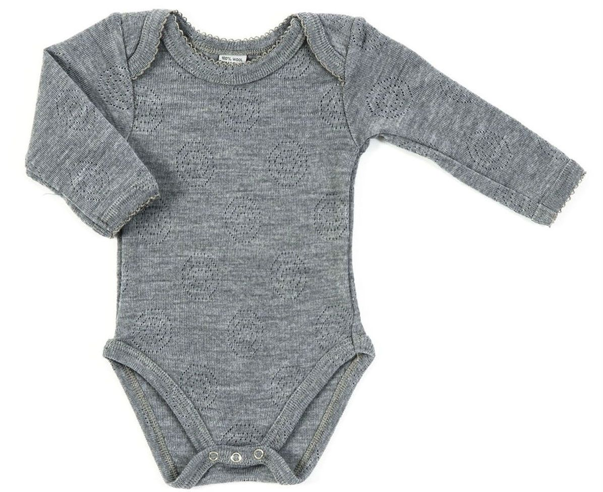 Image of   Body fra Smallstuff - Merinould - Lange ærmer - Jaquard Grey melange