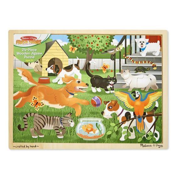 Image of   Puslespil m. kæledyr fra Melissa & Doug (48 brikker)
