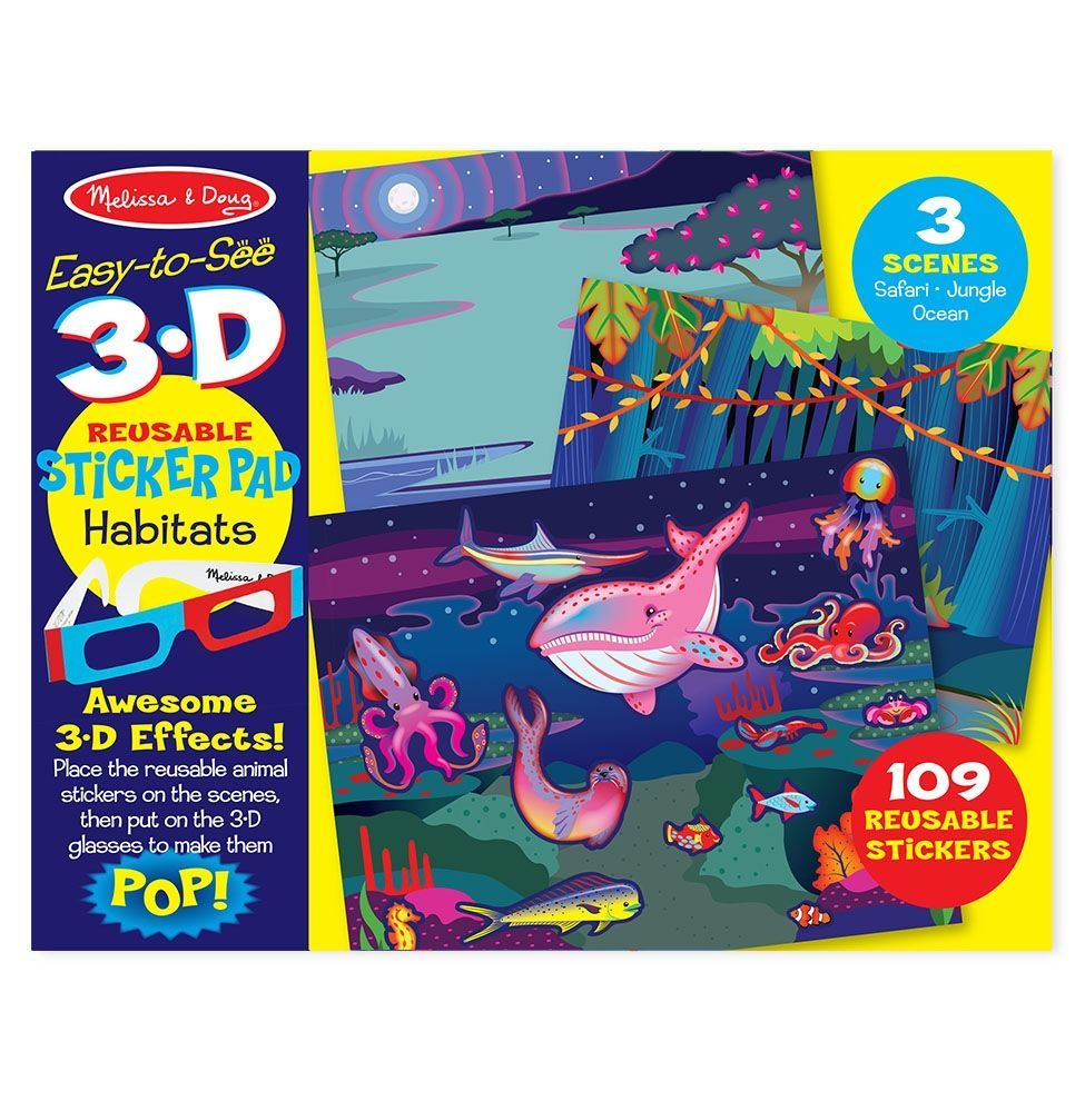 Image of Klistermærkebog fra Melissa & Doug - 3D Reusable Sticker Pad - Dyr (19376)