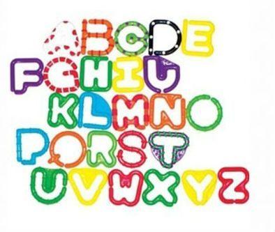 Ringe til leg og ophæng fra Sassy - Alfabetet - A-Z links (26 stk)