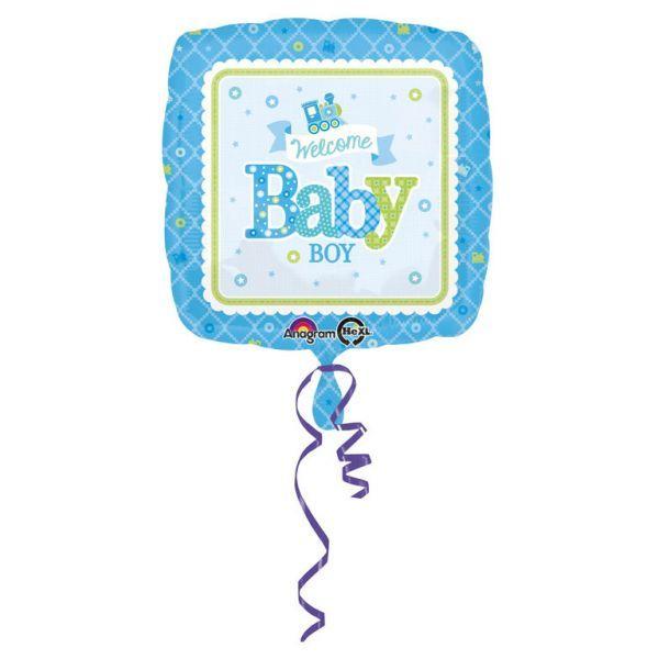 Ballon - folie - welcome baby boy (43cm) fra Amscan på babygear.dk