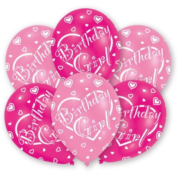 Image of Balloner - Latex - Birthday Girl (6 stk) (INT995712)