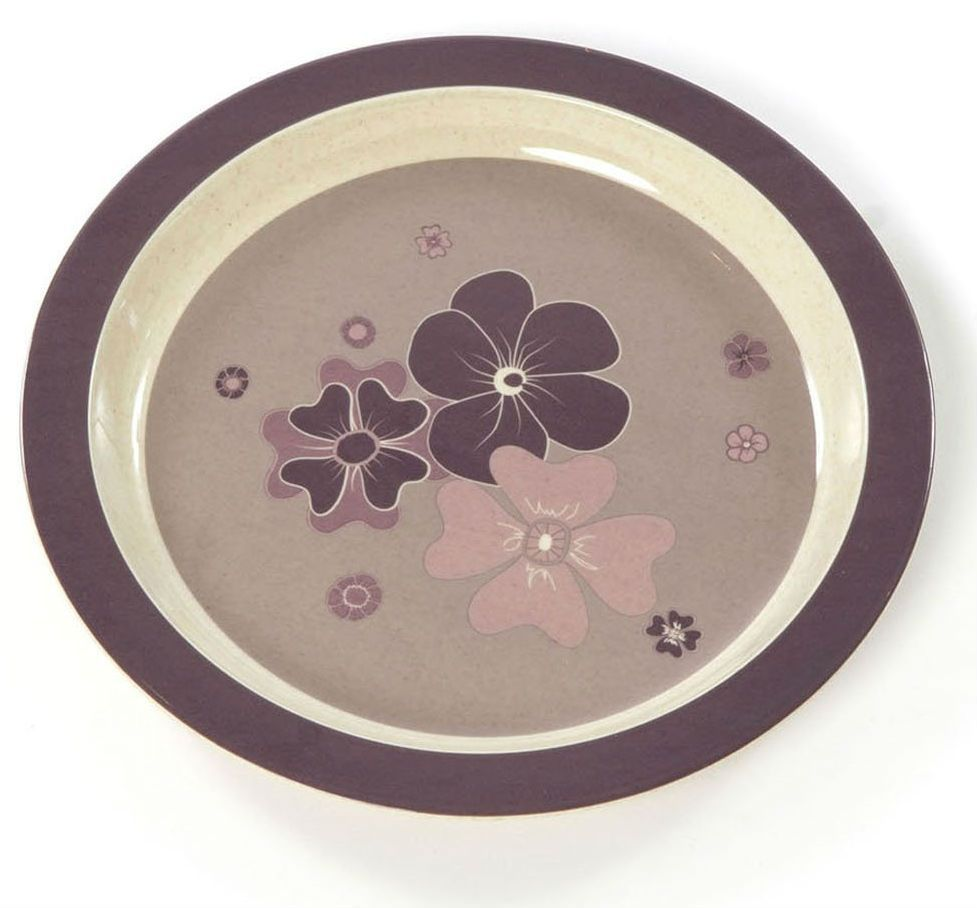 Flad tallerken fra Smallstuff - Bambus melamin - Blomster