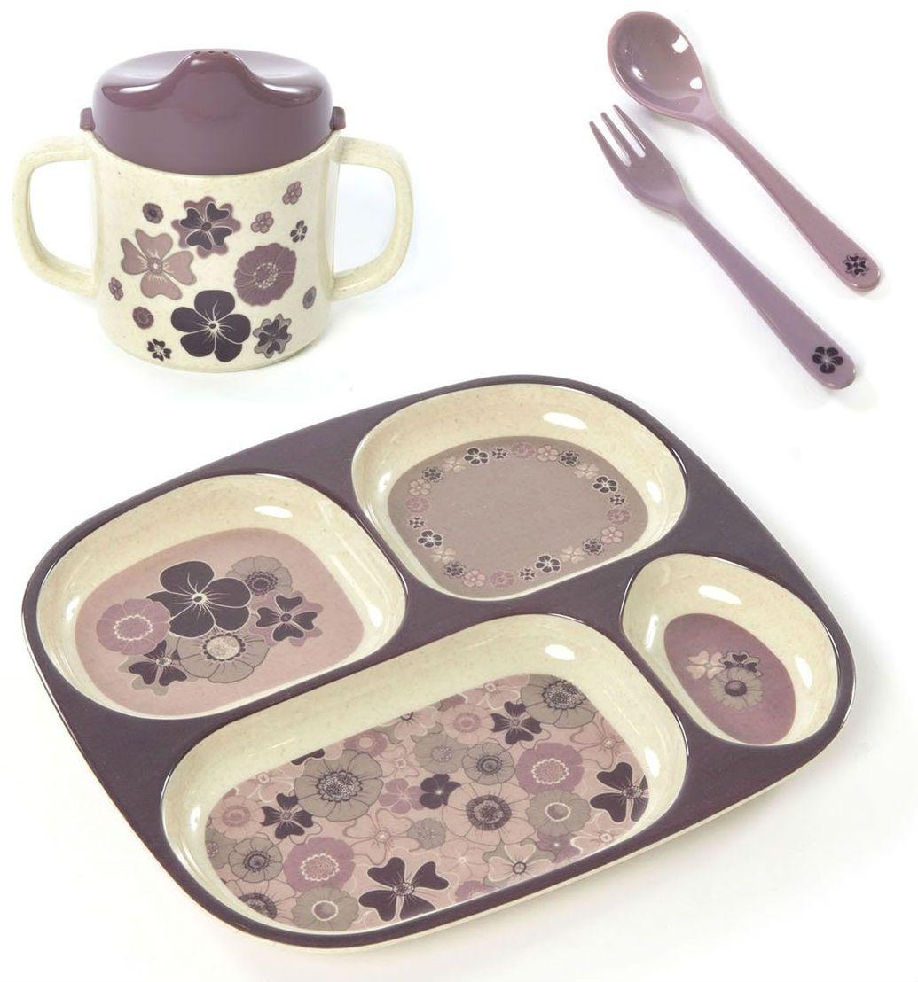 Image of   Spisesæt i gaveæske fra Smallstuff - Bambus melamin - Blomster
