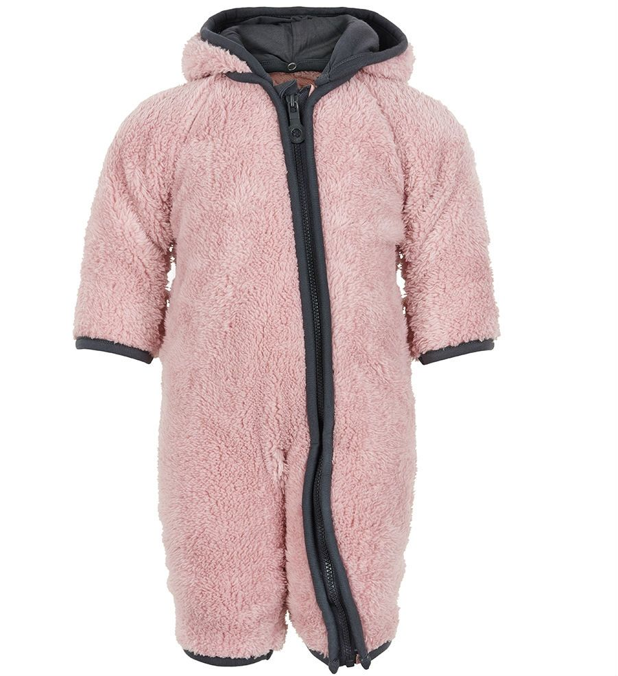 Image of   Dragt i teddy fleece fra Minymo - med ombuk - Rosa