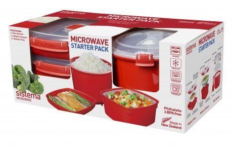 Startsæt til mikroovn fra Sistema - Microwave Starter Pack (3 dele)