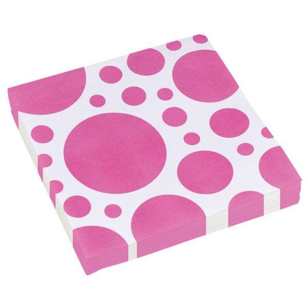 Image of Servietter - Dots - Pink (20 stk) (999324)