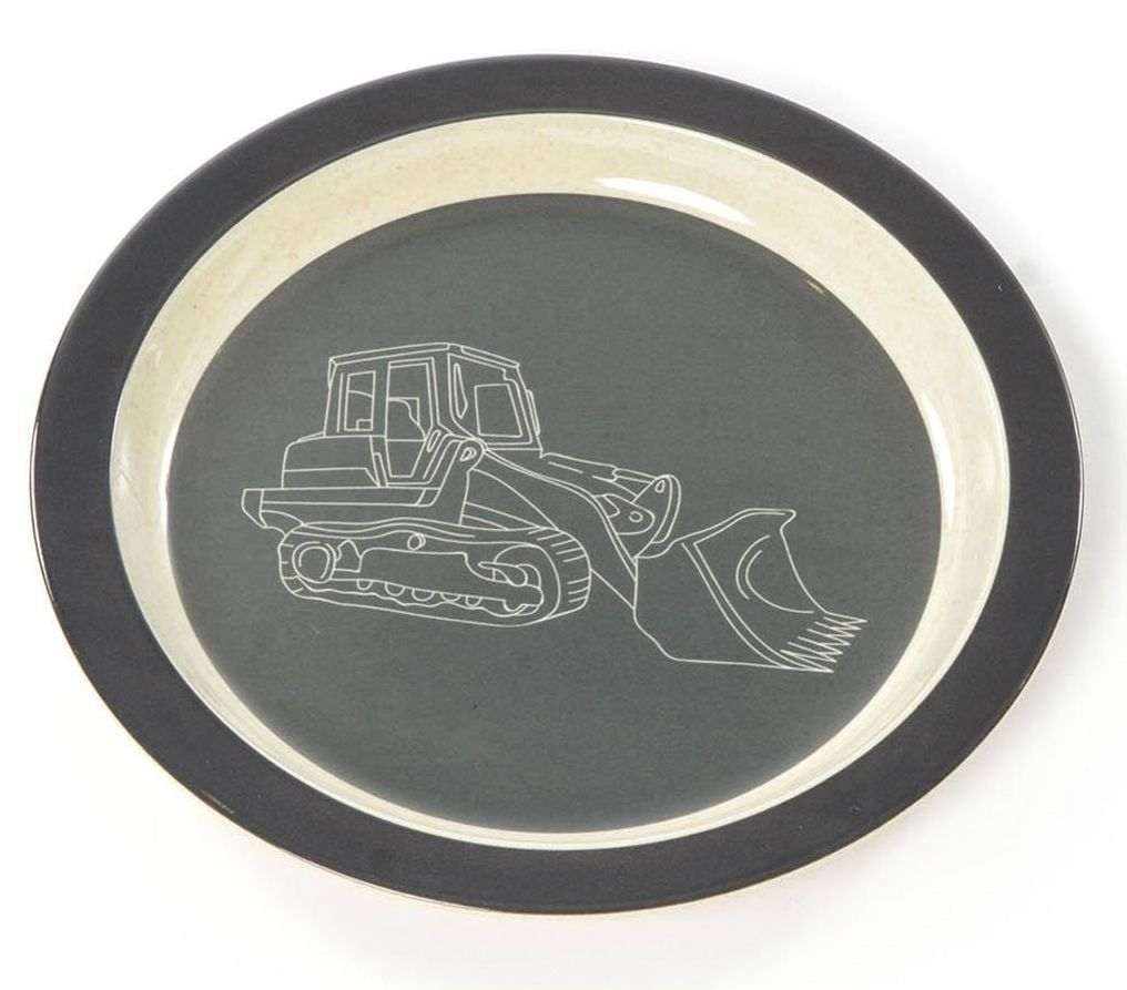 Flad tallerken fra Smallstuff - Bambus melamin - Køretøj
