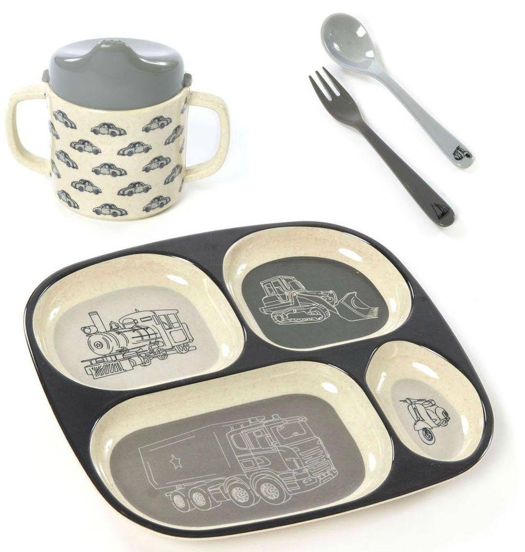 Billede af Spisesæt i gaveæske fra Smallstuff - Bambus melamin - Køretøj