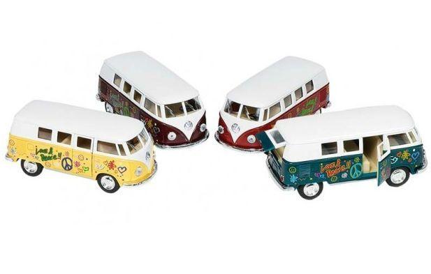 Image of   Legetøjsbus fra Goki - Volkswagen Bus 1962 - Woodstock (1:32)