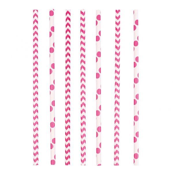 Image of   Papir sugerør - Dots & Chevron - Pink (24 stk)