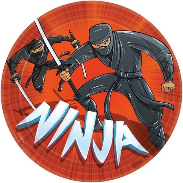Image of   Stor paptallerken - Ninja (8 stk)