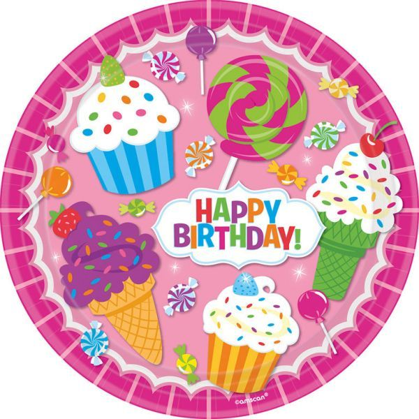 Image of   Stor paptallerken - Happy Birthday Sweetie (8 stk)