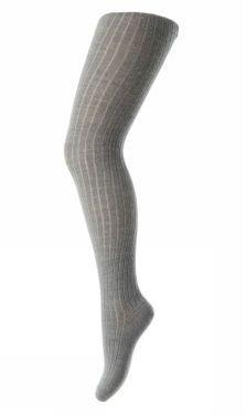 Image of Rib Strømpebukser i uld fra MP i lys gråmeleret (128-491)