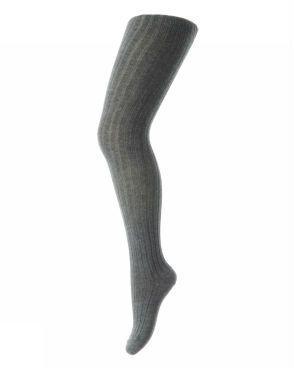 Image of Rib Strømpebukser i bomuld fra MP i mørk gråmeleret (130-497)