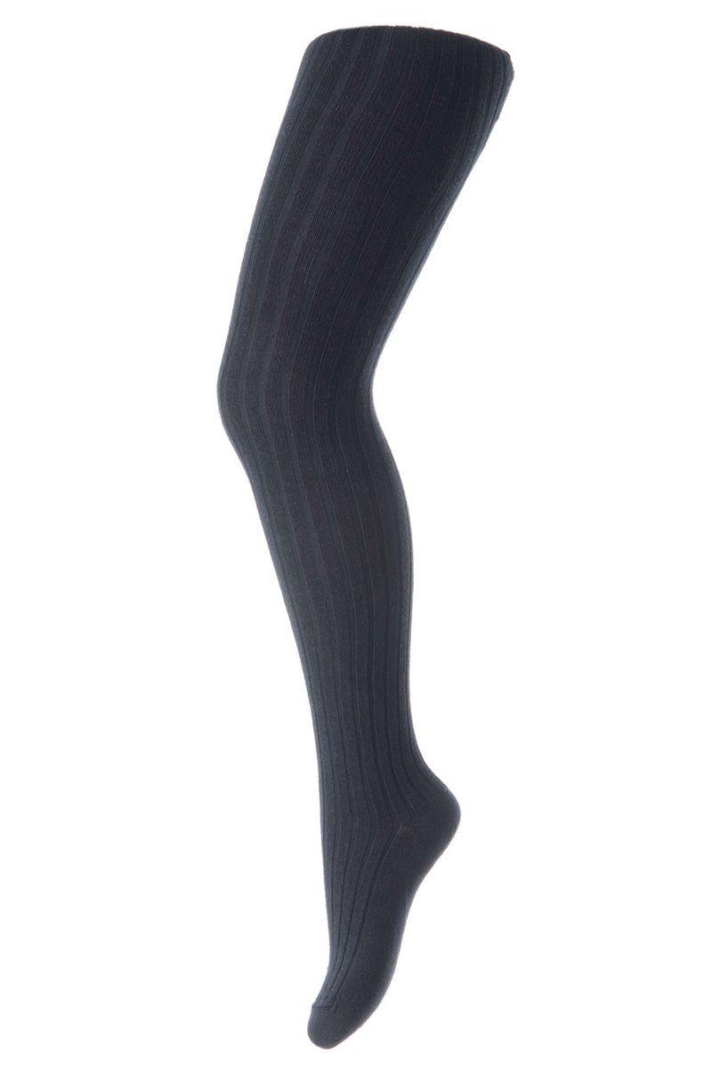 Strømpebukser i bomuldsrib fra MP - Mørkeblå