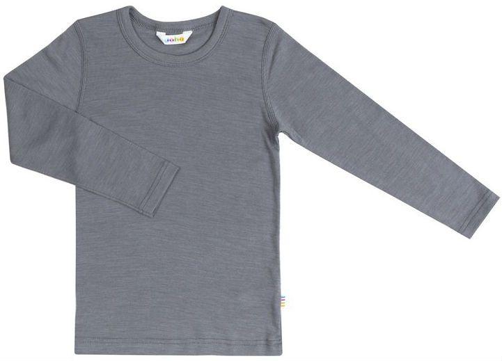 Image of   Bluse med lange ærmer fra Joha i uld/silke - Rabbit grey
