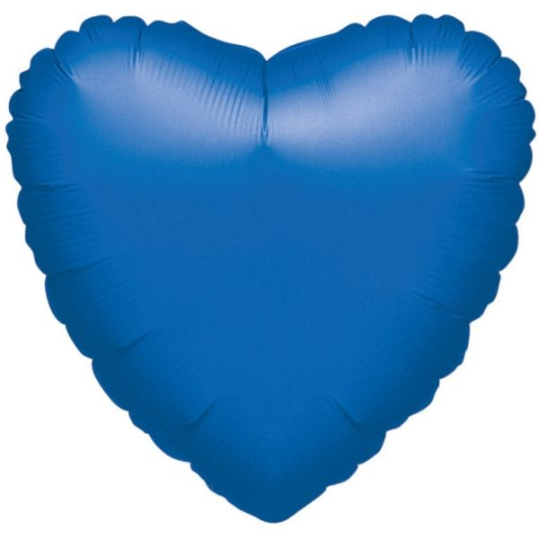 Ballon - Folie - SuperShape - Metallic Blue - Heart (43cm)