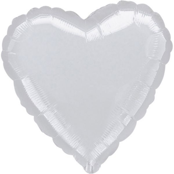 Ballon - Folie - SuperShape - Metallic Silver - Heart (43cm)