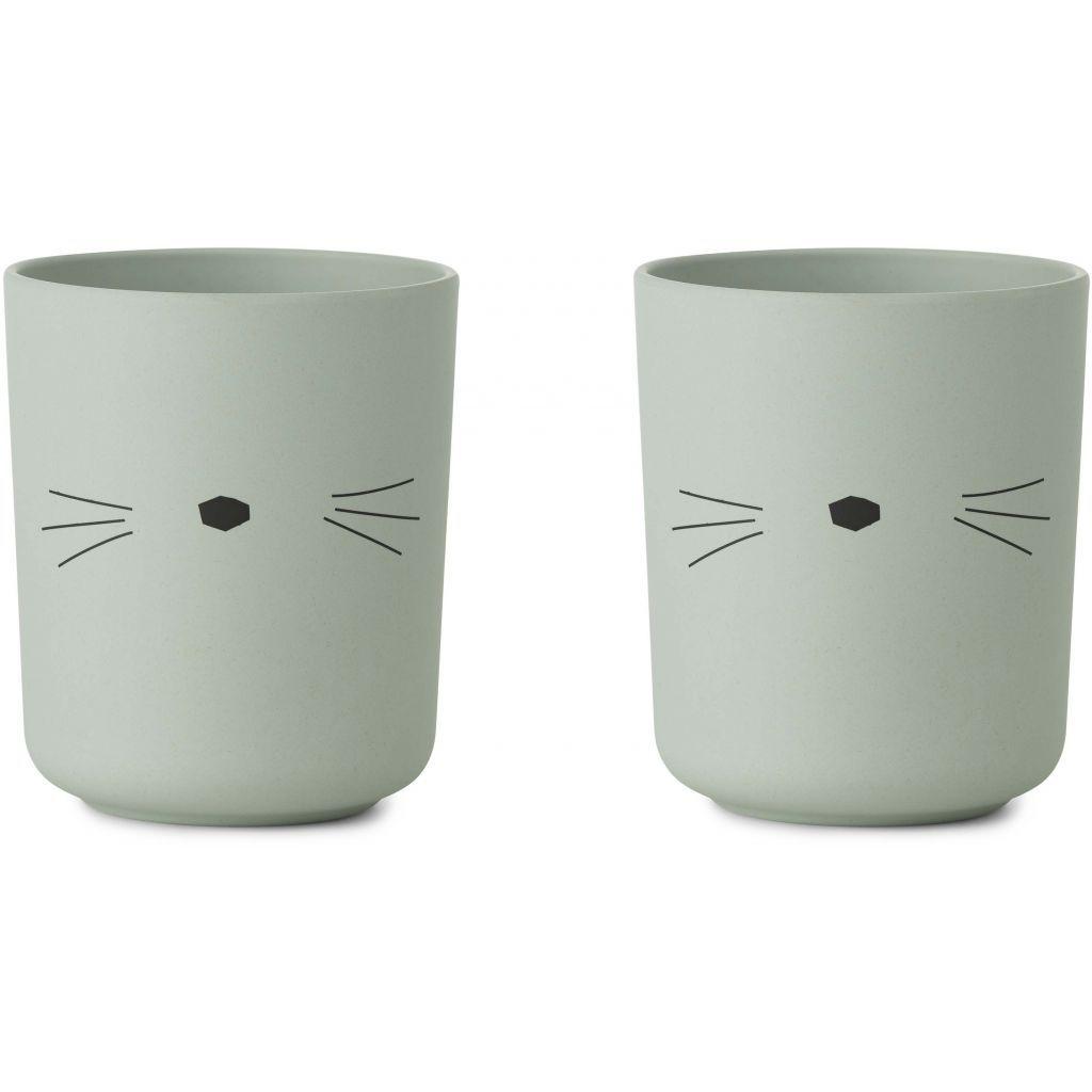 Image of Kopper fra Liewood - Bambus - Cat dusty mint (2-pak) (LW12396-0023)