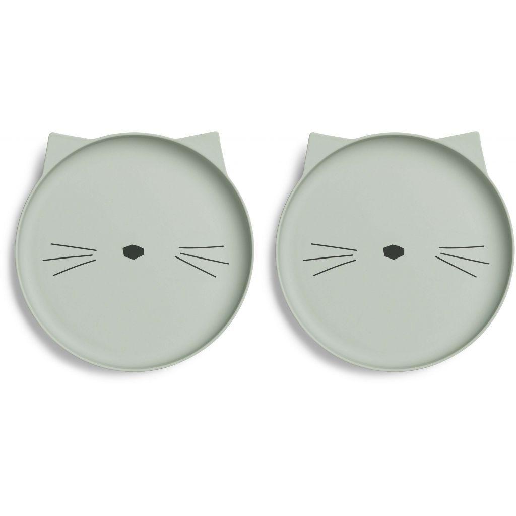 Image of Tallerkener fra Liewood - Bambus - Cat dusty mint (2-pak) (LW12400-0023)