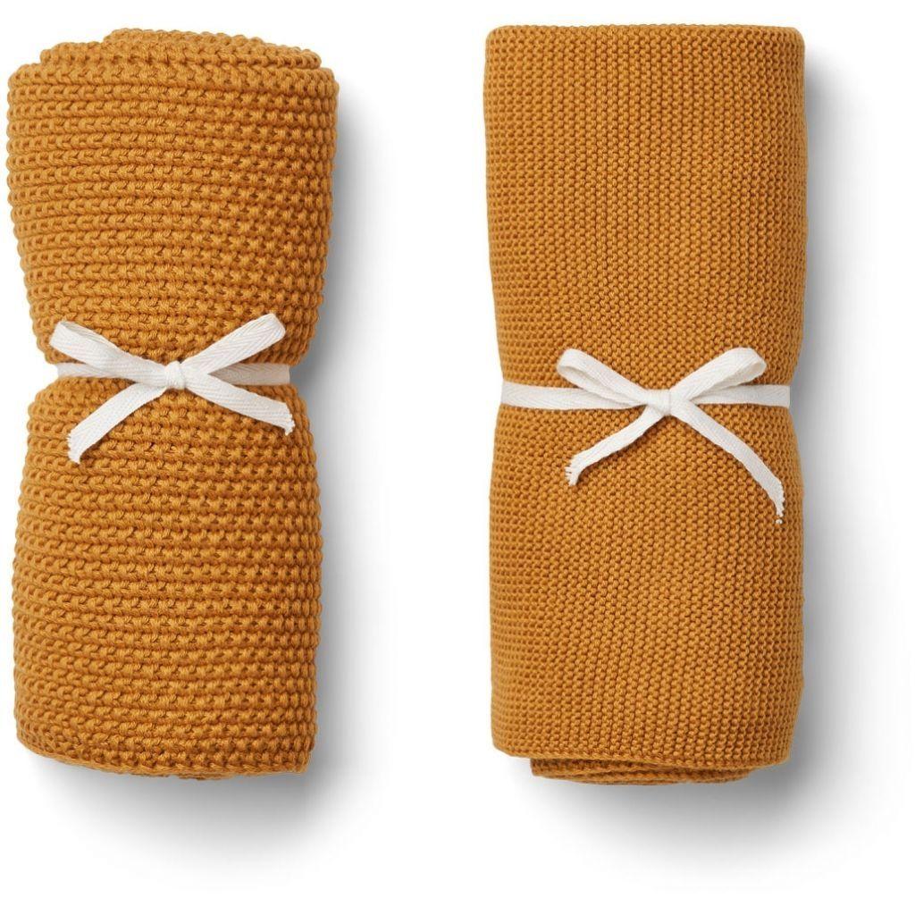 Image of Strikkede håndklæder/babytæpper fra Liewood - Mustard (2-pak) (LW12617-3000)