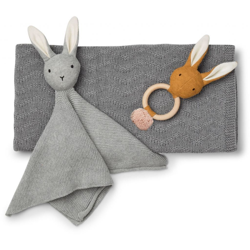 Image of Gavesæt fra Liewood - Petra baby knit package - Grey melange (LW12619-1015)