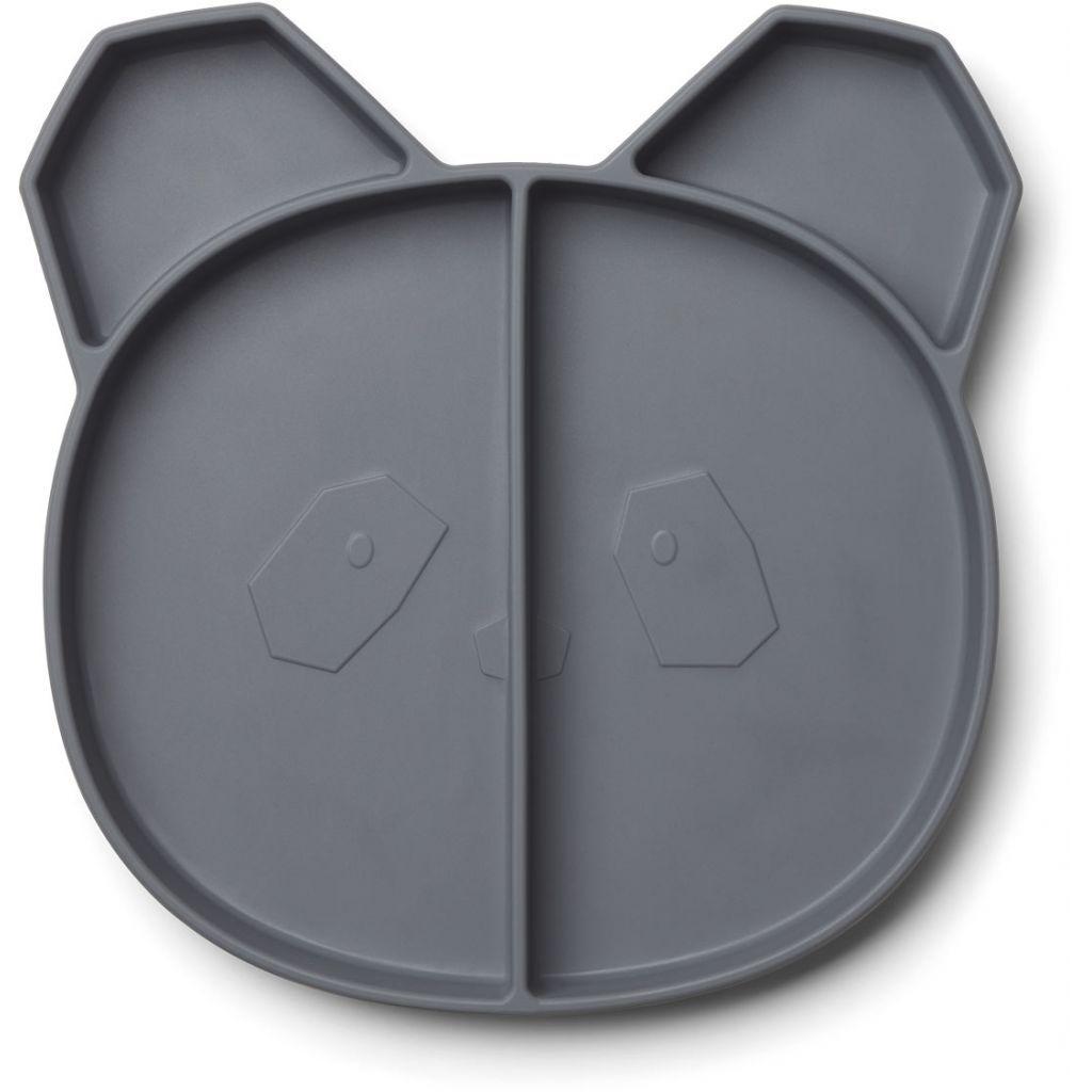 Image of   Tallerken i silikone fra Liewood - Maddox multi plate - Panda Stone Grey