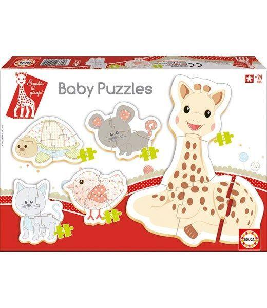 Baby puslespil fra educa borras / sophie giraf 3-5 brikker (5 stk) fra Vulli fra babygear.dk