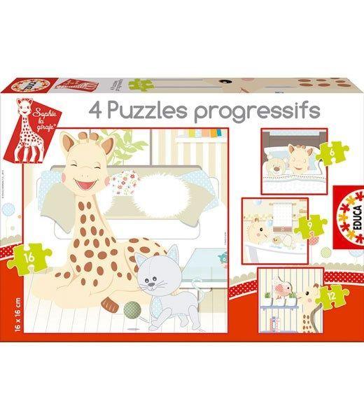 Vulli – Puslespil fra educa borras / sophie giraf 6-9-12-16 brikker (4 stk) fra babygear.dk