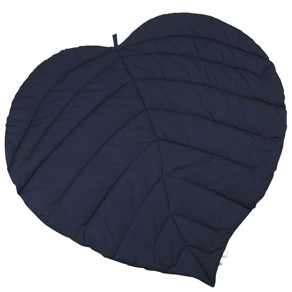 Image of Tæppe fra Müsli - Leaf Blanket - Organic - Navy (1578003300_019392301)