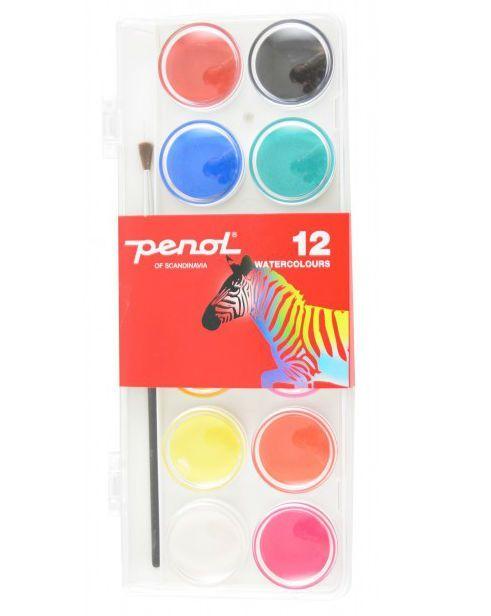 Vandfarve fra penol - d30 mm (12 farver) fra Penol fra babygear.dk