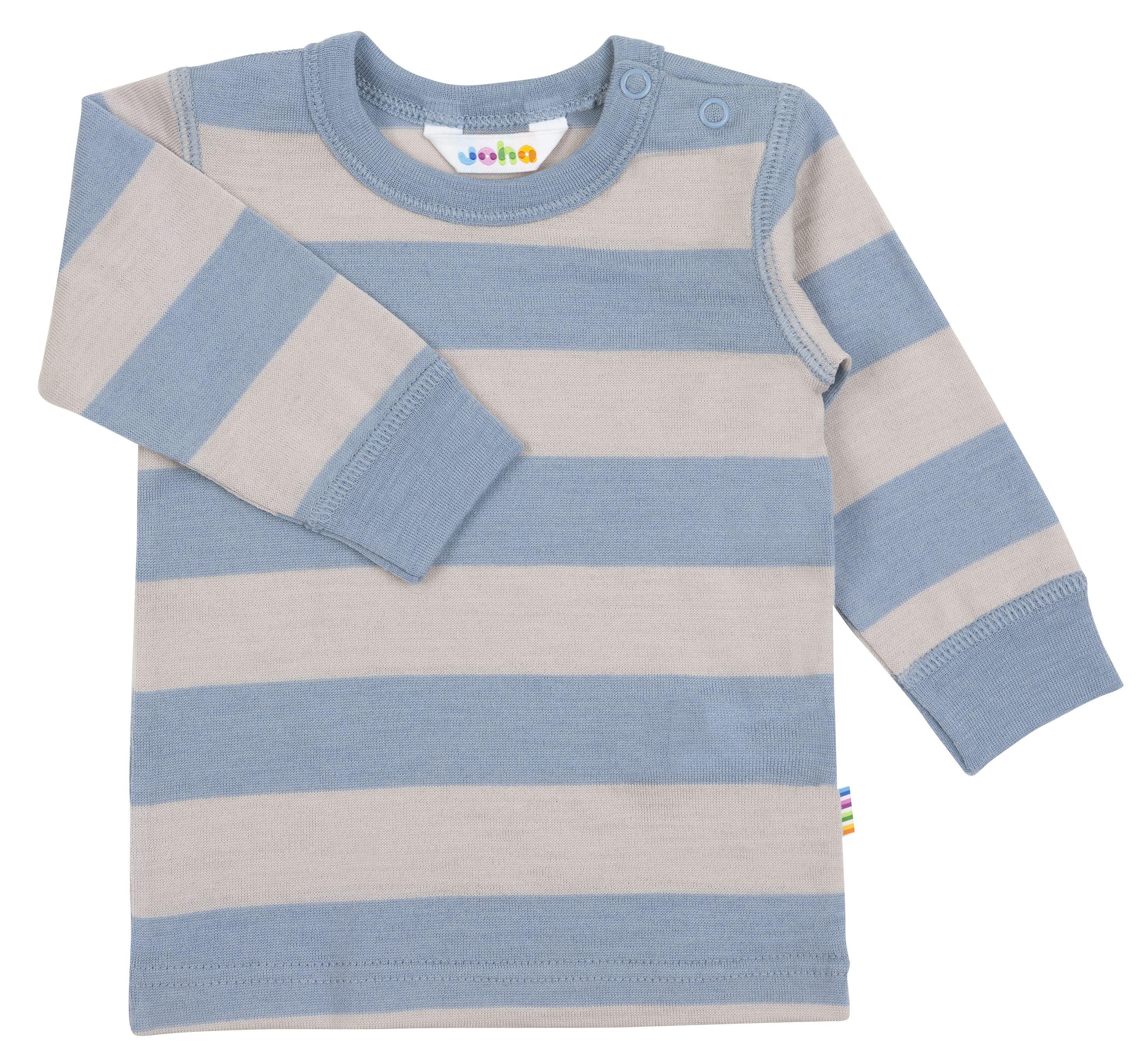 Image of   Bluse med lange ærmer fra Joha i uld - Blue Wide Stripe