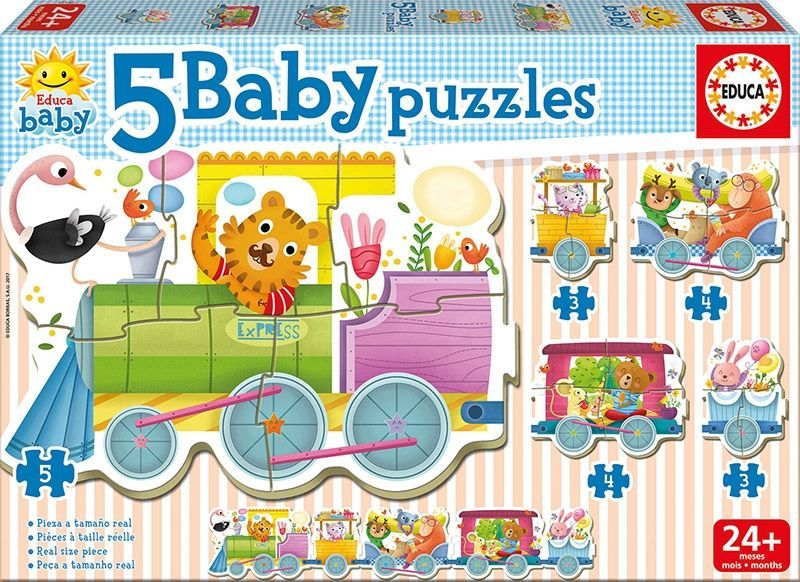 Image of Puslespil fra Educa - Animal Train - 5 Baby Puzzles (2+) (017142)