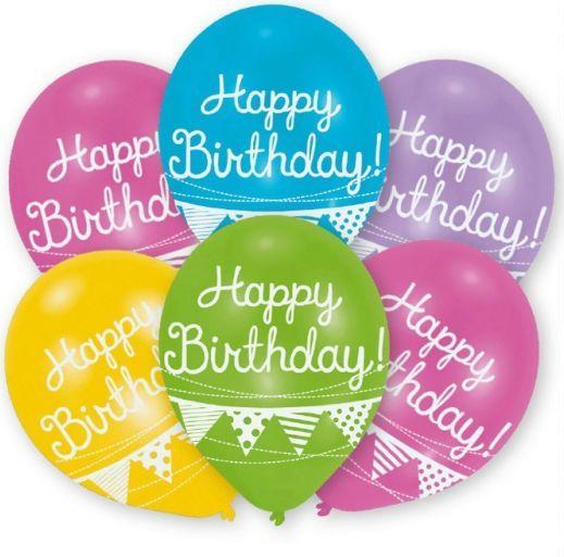 Balloner - Latex - Happy Birthday (6 stk)