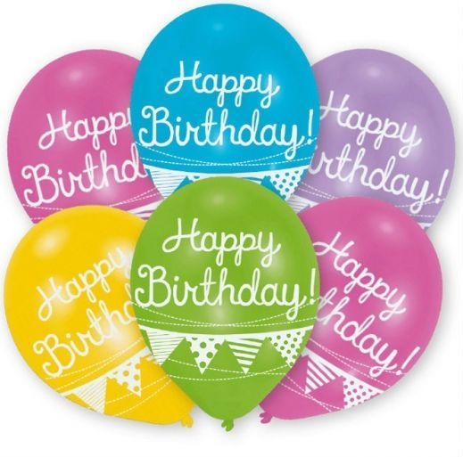 Image of Balloner - Latex - Happy Birthday (6 stk) (9901853)