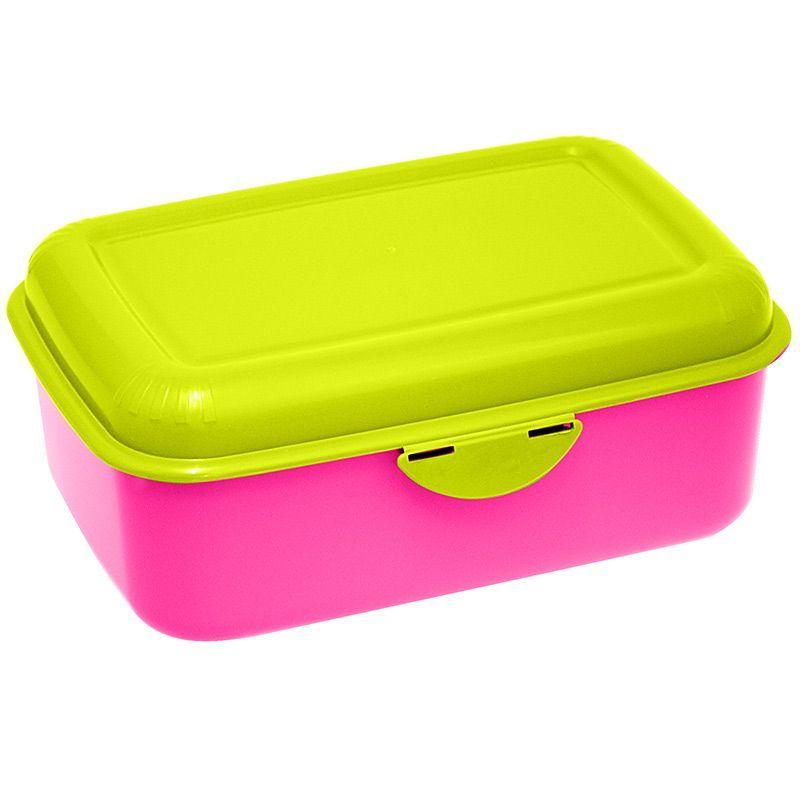 Madkasse m. Smart klik-låg og motiv (1L) - Pink/Lime
