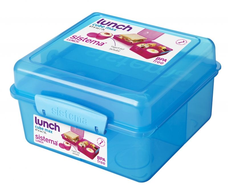 Image of   Madkasse Lunch Cube Max fra Sistema m. bæger - Aqua