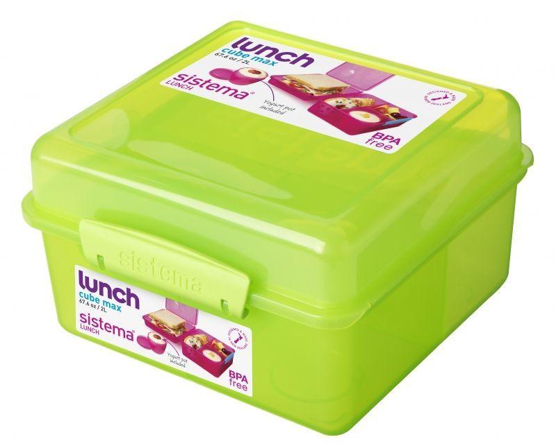 Image of   Madkasse Lunch Cube Max fra Sistema m. bæger - Grøn