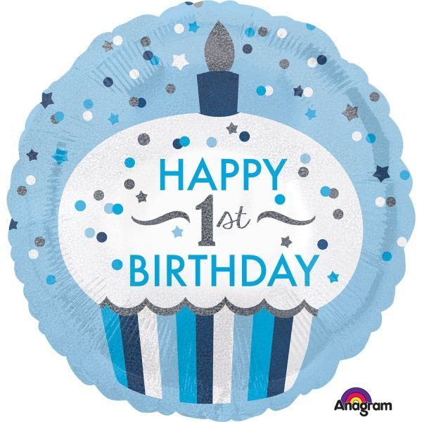 Amscan Ballon - folie - 1st birthday cupcake boy (43cm) på babygear.dk