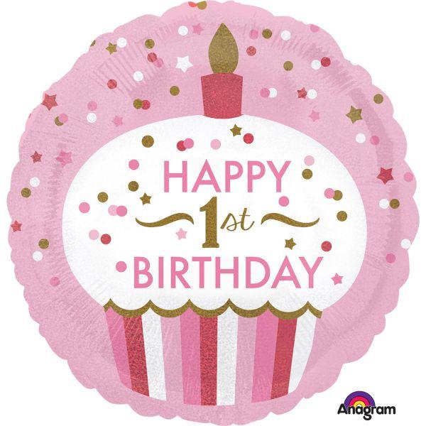 Amscan Ballon - folie - 1st birthday cupcake girl (43cm) fra babygear.dk