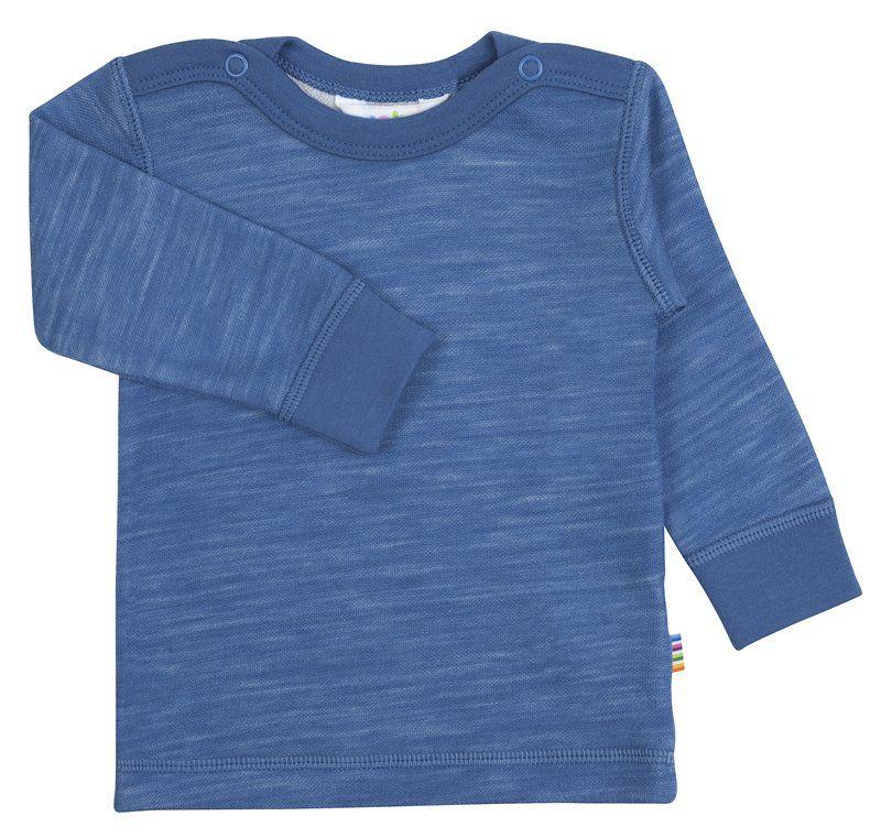 Image of   Bluse med lange ærmer fra Joha i uld/bambus - Blue horizon