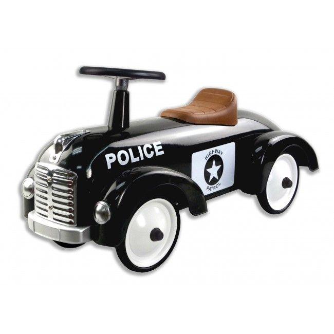 Gåbil i metal m. gummihjul fra Magni - Politibil