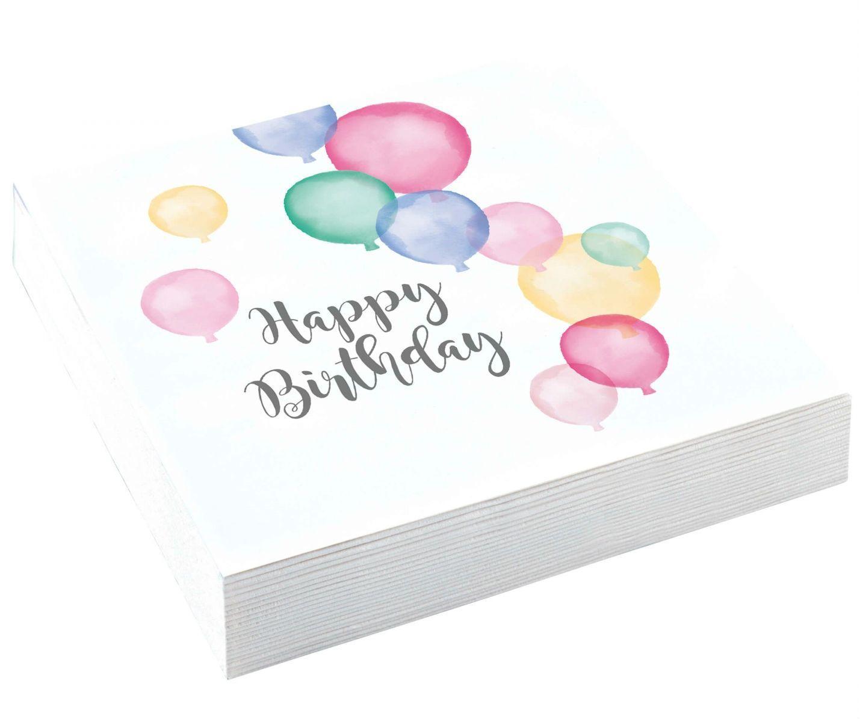 Image of Servietter - Happy Birthday Pastel 33x33cm (20 stk) (9903711)