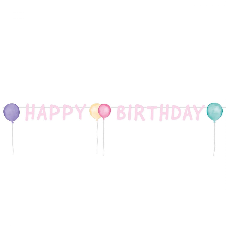 Image of   Fødselsdagsbanner - Happy Birthday Pastel 1,5m