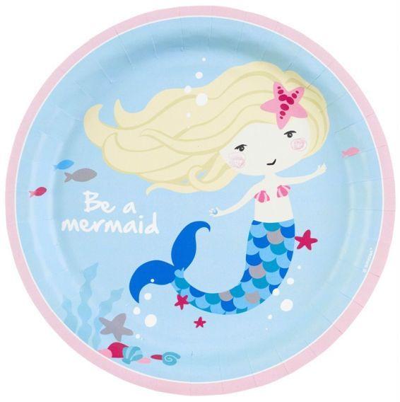 Image of   Stor paptallerken - Be a Mermaid (8 stk)