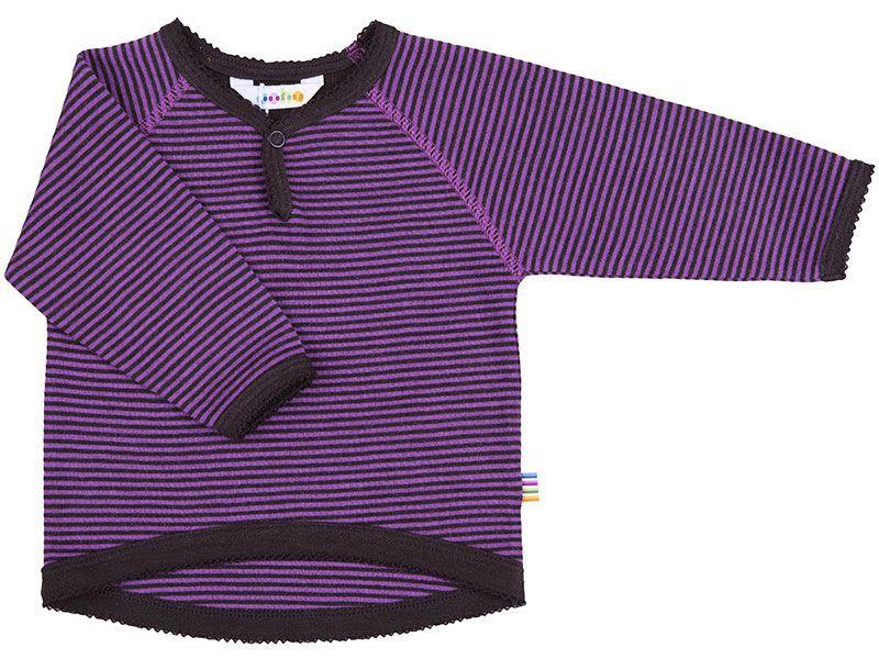 Image of   Uld trøje fra Joha micro stripe - Fuchsia/Brun
