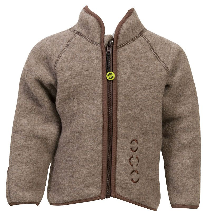 Image of   Jakke i uld fleece fra Mikk-Line - Junior - Brun melange